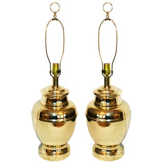 Hollywood Regency Brass Lamps - A Pair
