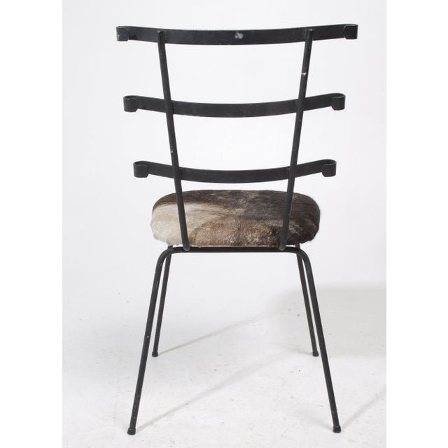 1950s Modernist Iron Side Chair with Cowhide Seat - Image 6 of 7