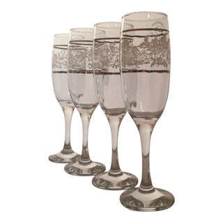 Turkish Pasabahce Circle Art of Glass Champagne Flutes - Set of 4