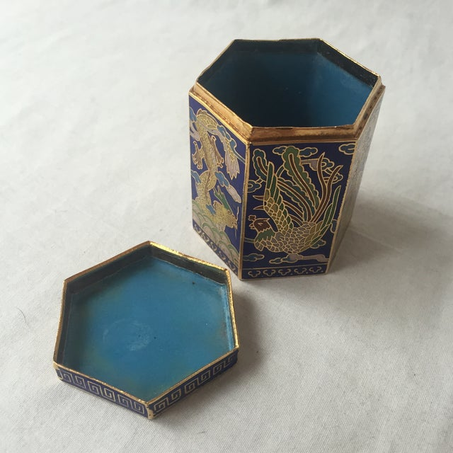 Vintage Cloisonné Hexagon Box - Image 5 of 5