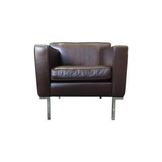 DWR Theatre Brown Leather Armchairs- A Pair