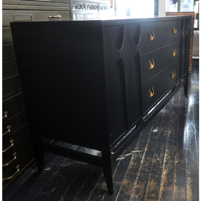 Image of Black Lacquered Mid-Century Modern Credenza
