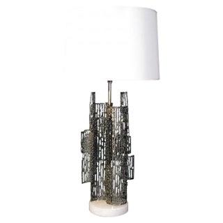 Marcello Fantoni Brutalist Sculptural Metal Lamp
