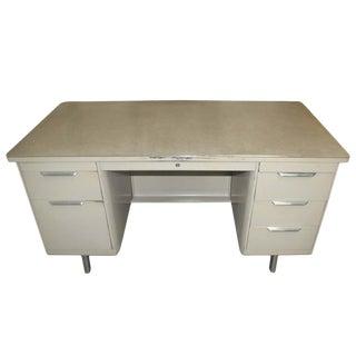Vintage Double Pedestal Metal Tank Desk