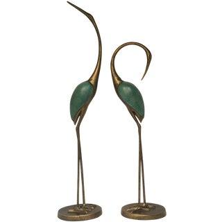 Golden Cranes Sculptures - A Pair