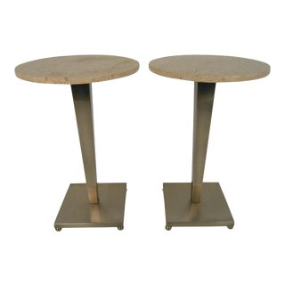 Mid-Century Stainless & Travertine Pedestal Tables - a Pair