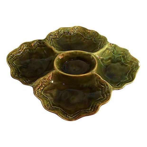 Handmade Green Drip Glazed Ceramic Platter - Image 1 of 4