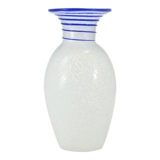Blue & White Blown Art Glass Vase