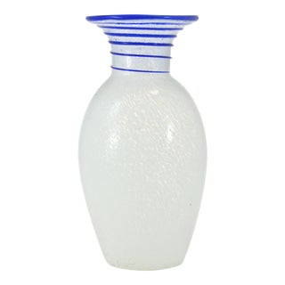Blue & White Blown Art Glass Vase