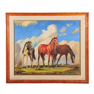 """""""Wild Mustangs"""" Oil Painting by Carl Schmidt"""