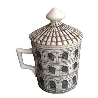 Fornasetti Lidded Vintage Latte Coffee Cup