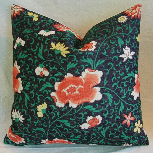 Imperial Scrolling Floral Lotus Linen Pillow - Image 3 of 5