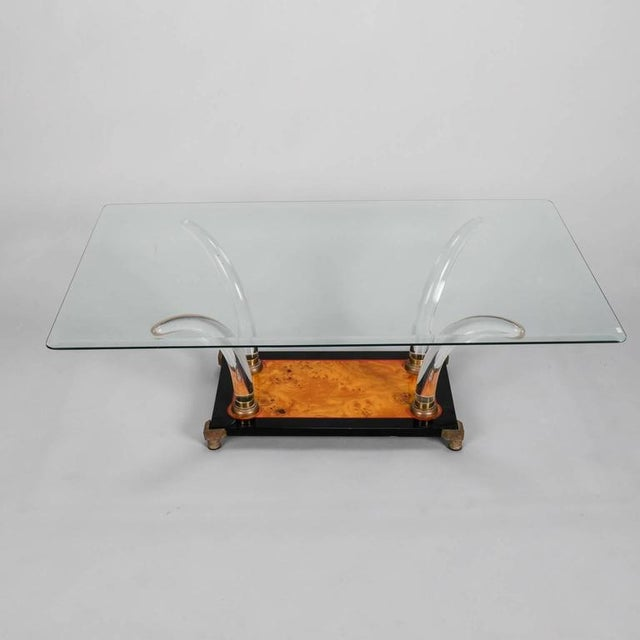 Incredible mid century lucite burl wood and glass cocktail for Wood and glass cocktail tables