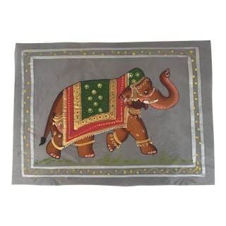 Hand Painted Indian Elephant Textile Art