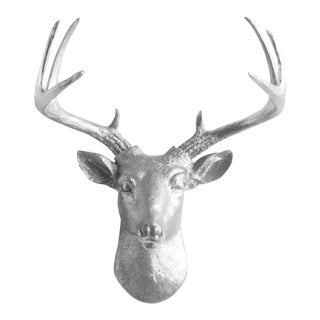 Wall Charmers Silver Faux Deer Head Mount