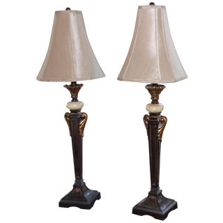 Vintage Wood & Marble Table Lamps - A Pair