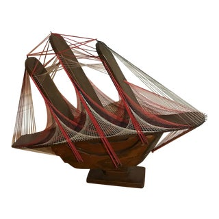 Wood & String Art 3 Mast Sail Boat Model