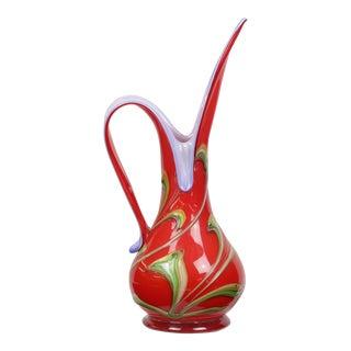 Art Deco Hand-Blown Glass Pitcher