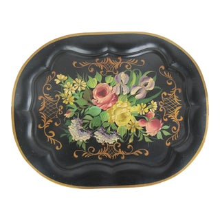 Vintage Large Hand Painted Tole Tray