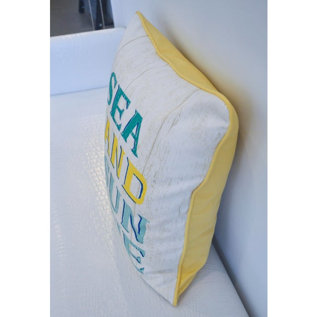 Yellow & White Indoor/Outdoor Decorative Beach Pillow - Image 3 of 3