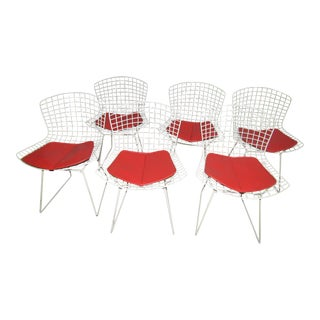 Knoll Metal Wire Chairs With Original Cushions - Set of 6