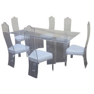 7-Piece 1980s Lucite Dining Set