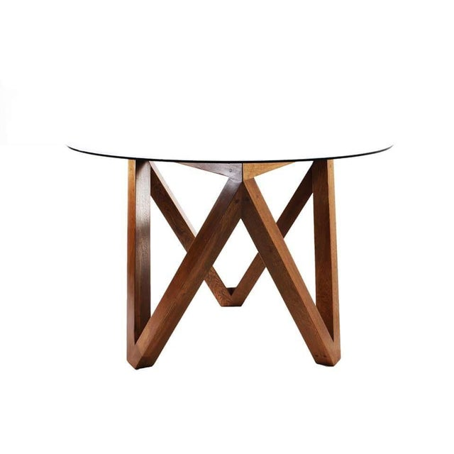 round glass solid wood base dining table chairish. Black Bedroom Furniture Sets. Home Design Ideas