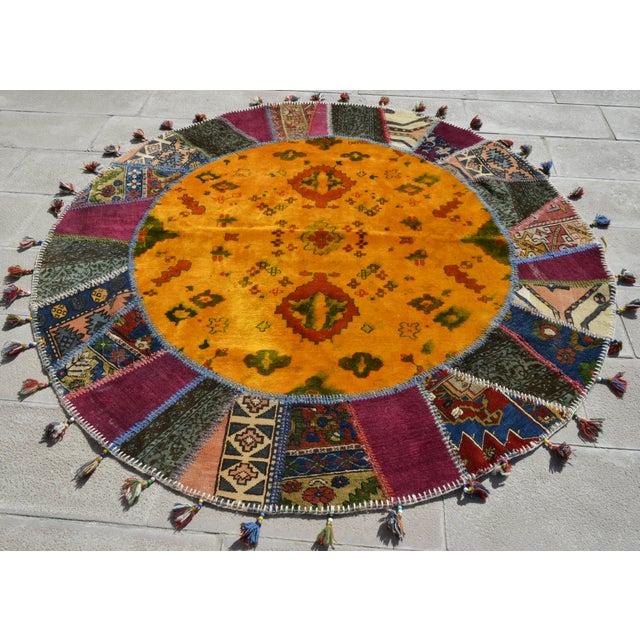 Turkish Handmade Patchwork Round Rug - 6′5″ × 6′5″ - Image 2 of 8