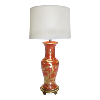 Tall American 1960s Orange and Red Porcelain Lamp with Gilt Decoration by Marbro