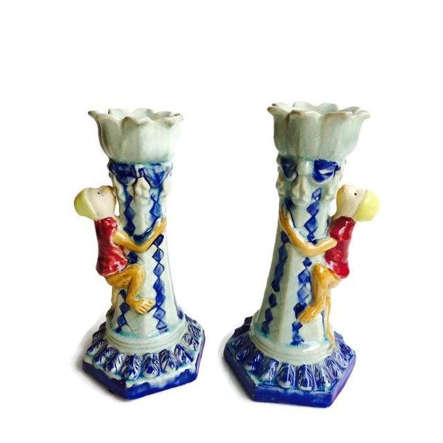 Vintage Ceramic Monkey Votive Candlesticks- A Pair - Image 1 of 6
