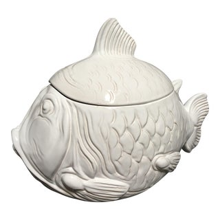Large White Fish Cookie Jar