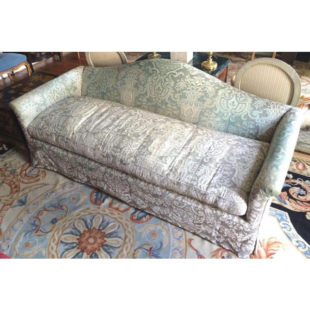 Fortuny Covered Camel-Back Sofa with Rolled Arms - Image 3 of 10