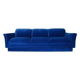 Vintage Tuxedo Sofa in Cobalt Blue Velvet