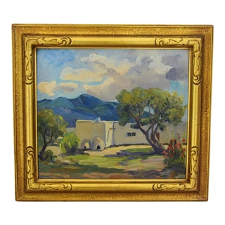 Marion Phillips House on Bluff Oil Painting, 1930s