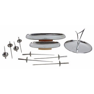 Mid-Century Modern Chrome Appetizer Serving Set