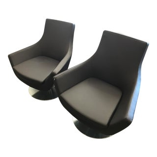 Soho Concept Leather Swivel Arm Chairs- Set of 2