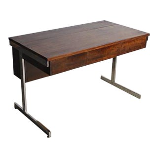 Lane Mid-Century Modern Rosewood& Chrome Compartment Desk