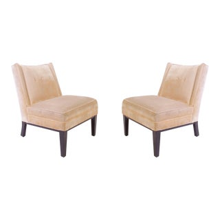 Dunbar Style Slipper Chairs in Champagne Velvet - Pair