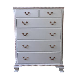 Vintage Gray & Gold Highboy Dresser