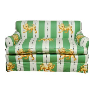 Lions of England Green and White Striped Settee