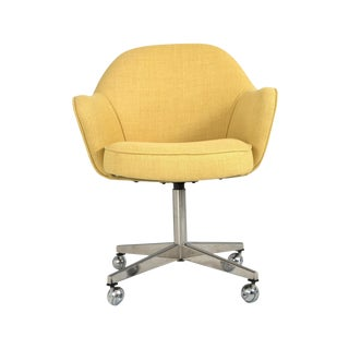 Saarinen for Knoll Desk Chair on Swivel Base in Yellow Woven-Microfiber
