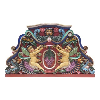 King Hand-Carved Wood Winged Cherubs King Size Headboard