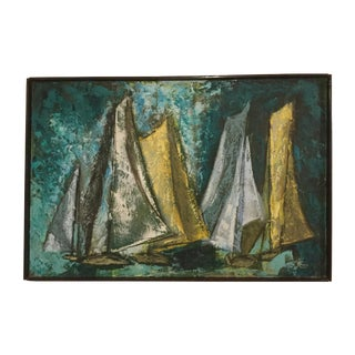 Mid Century Modern Abstract Sailboat Painting