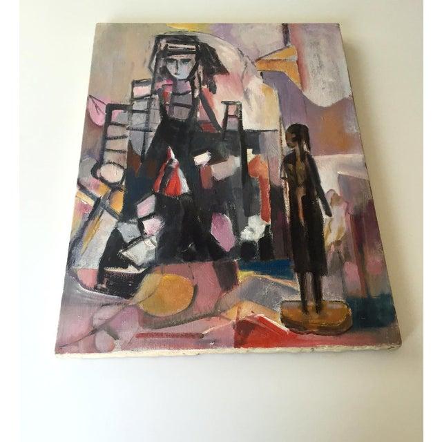 Vintage Modernist Cubist Acrylic Painting - Image 3 of 8