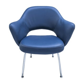 Gray-Blue Leather Saarinen Executive Chair