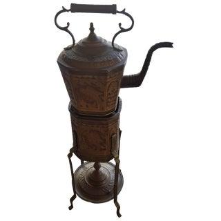 Vintage Copper Tea Kettle on Floor Stand