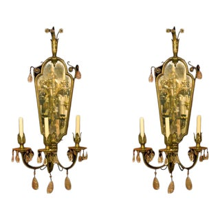 Etched American Mirrored Bronze Sconces - A Pair