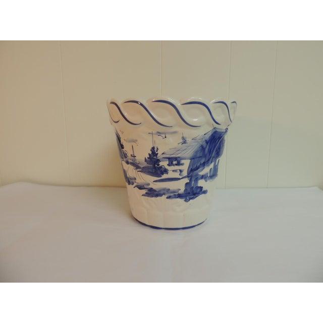 Vintage Blue & White Hand-Painted Ceramic Planter - Image 2 of 6