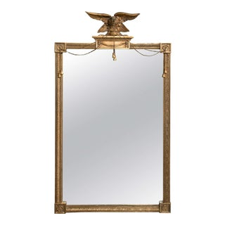 Antique Federal Style Gilt Carved Eagle Mirror