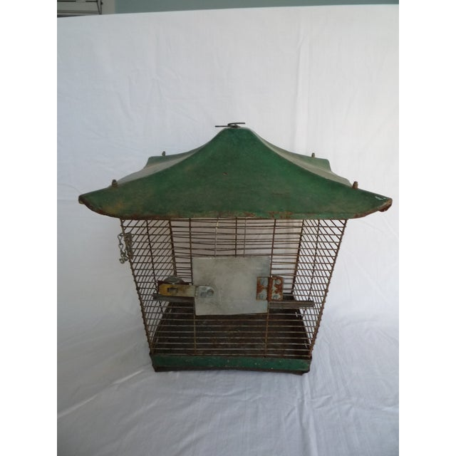 Image of Antique Large Green Asian Inspired Birdcage